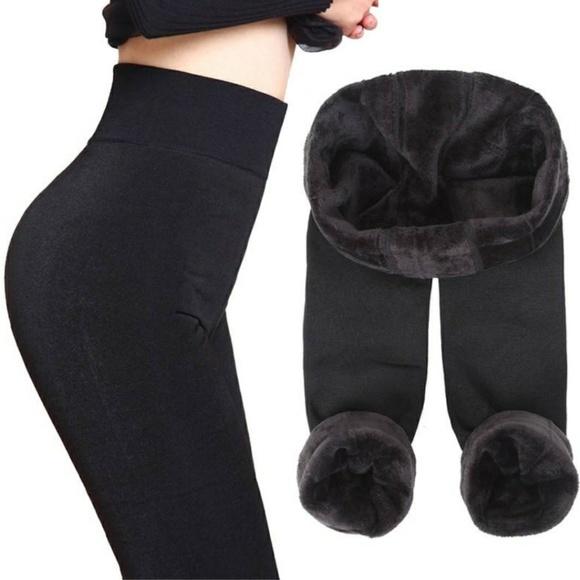 Ladies Velvet Plush FAUX FUR LINED LEGGINGS Primark Womens Winter Loungewear